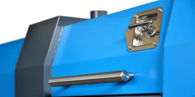 Separátor neželezných kovů Locust - detail otvírání krytu - snadná manipulace